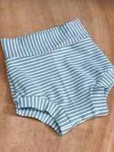 High Waisted Bummies-Aqua Stripe