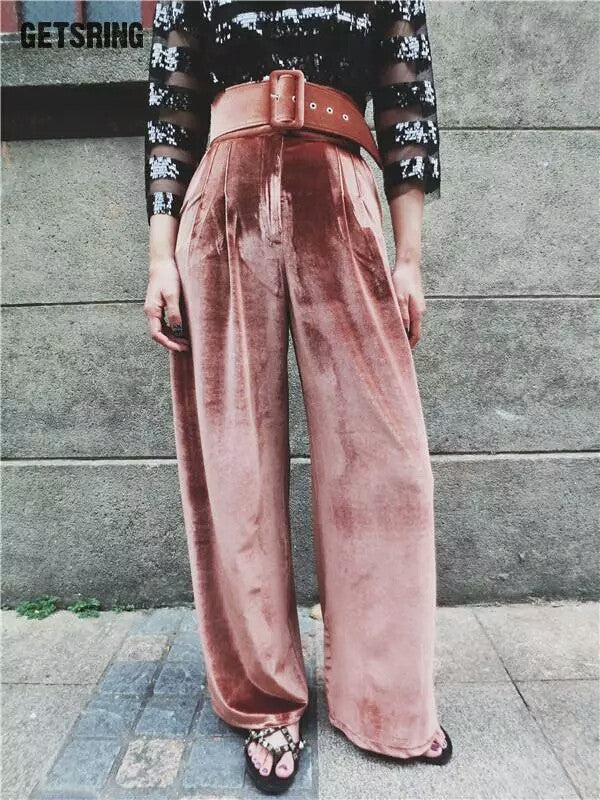 Velvet Pants with belt