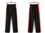 Red Striped Wide Leg Pants Black