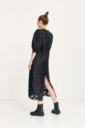Black dress with jacquard print