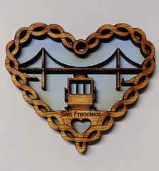 San Francisco Heart Cable Car & Golden Gate Bridge Wooden Ornament