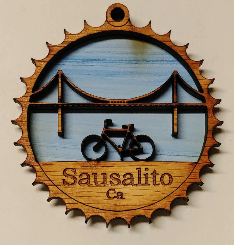 Sausalito Golden Gate Bridge & Bike Wooden Ornament