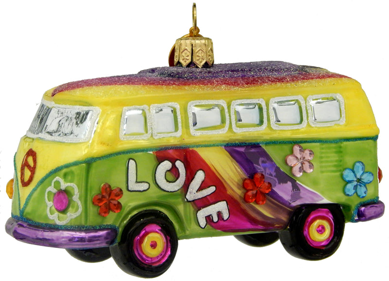 European Glass Love Mini Van/Bus Ornament