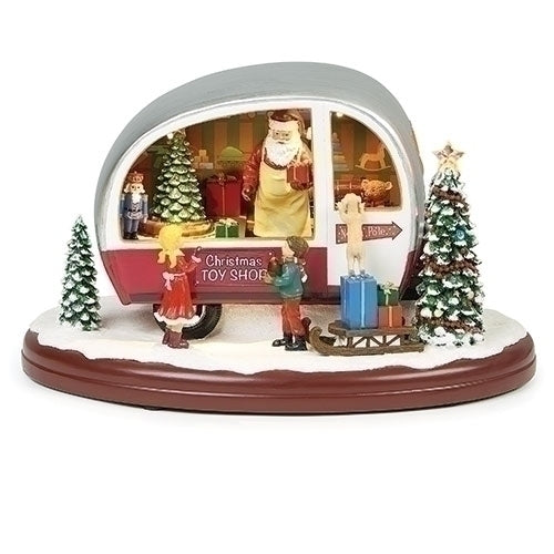 Musical LED Santa Trailer Rotating, 7""
