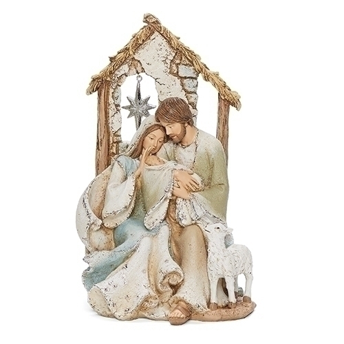 Holy Family With Stable & Star in Window, 9.25""