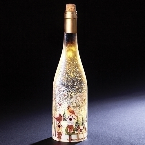 LED Lighted Wine Bottle With Swirling Glitter,12""