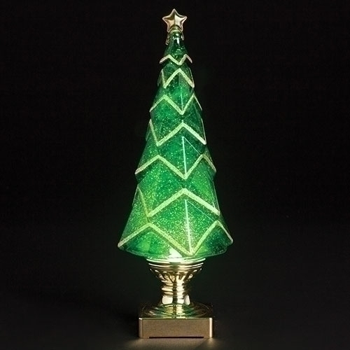 LED Lighted Tree With Swirling Glitter, 14""