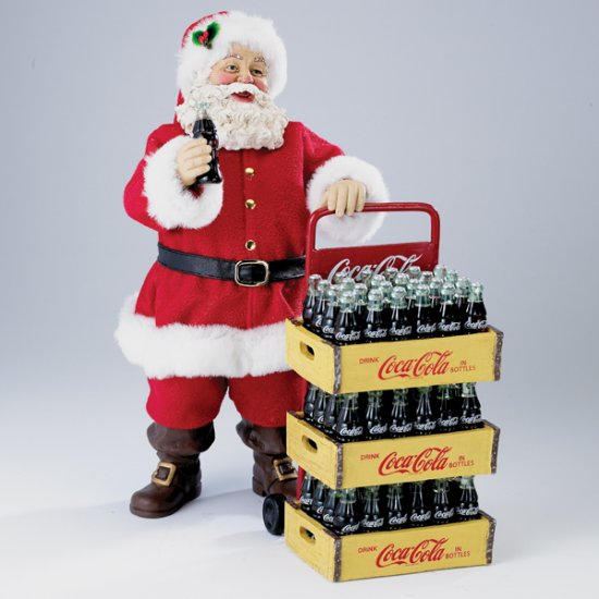 Coca-Cola Santa W/Delivery Cart 10.5""