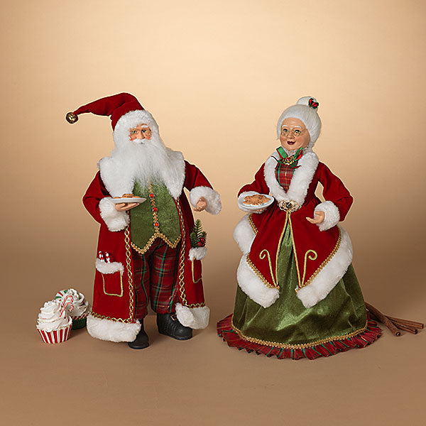 Santa and Mrs. Claus with Cookies Figurine Set of 2, 18""