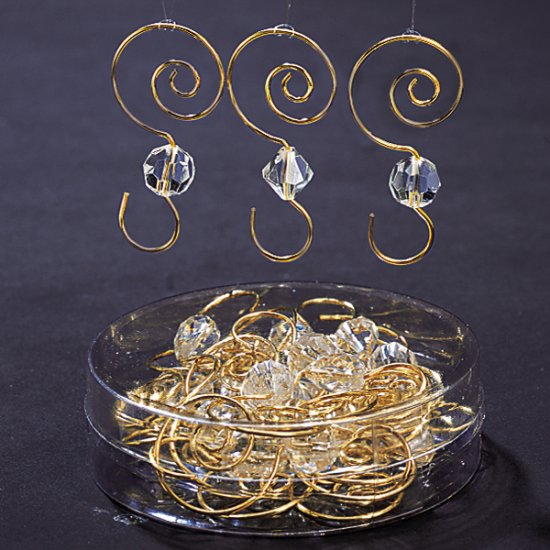 "Clear Acrylic W/Gold Wire Orn. Hooks 2.25""- 24 Pc."