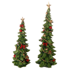 Christmas Tree decorated, Set of 2, 11.5
