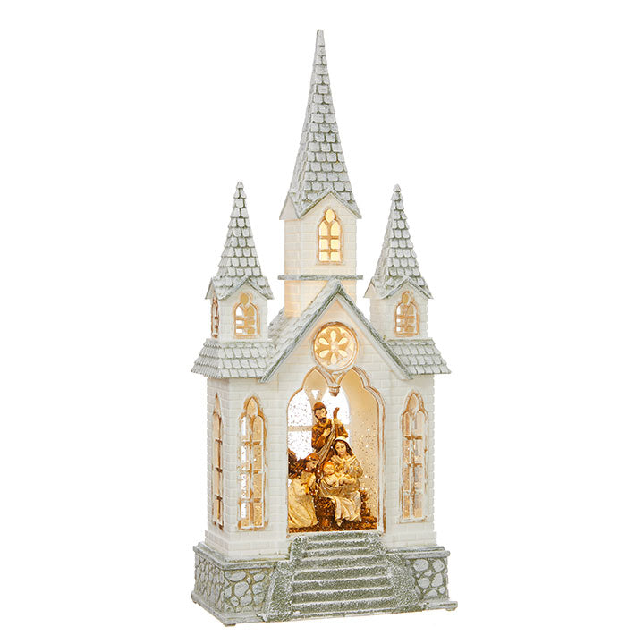 Nativity Lighted Water Church, 16.25""