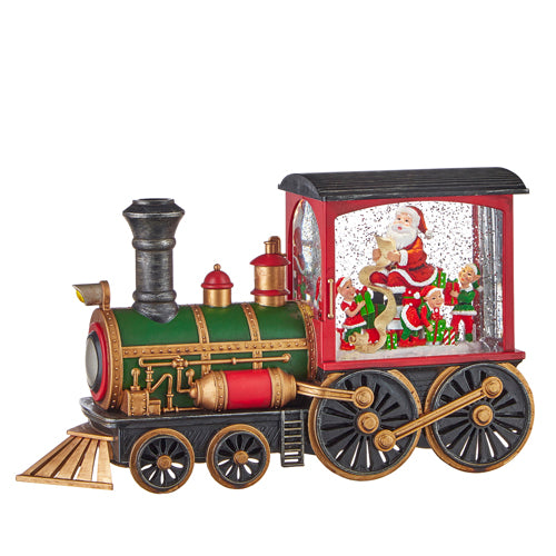 Musical Lighted Santa & Elves in Water Train, 12.25""