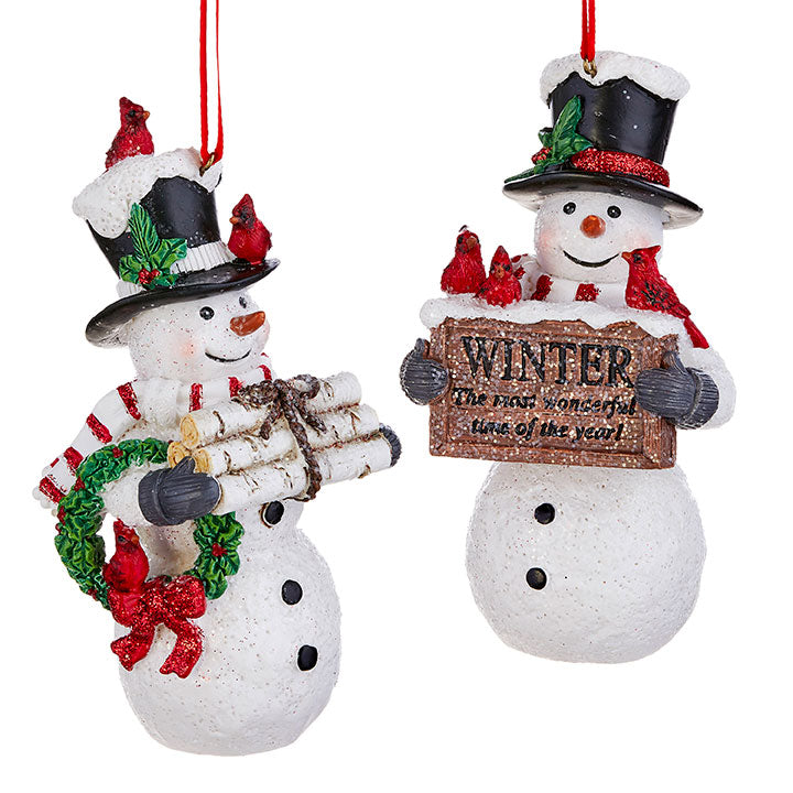 "Snowman Ornament, 5""- Set of 2"