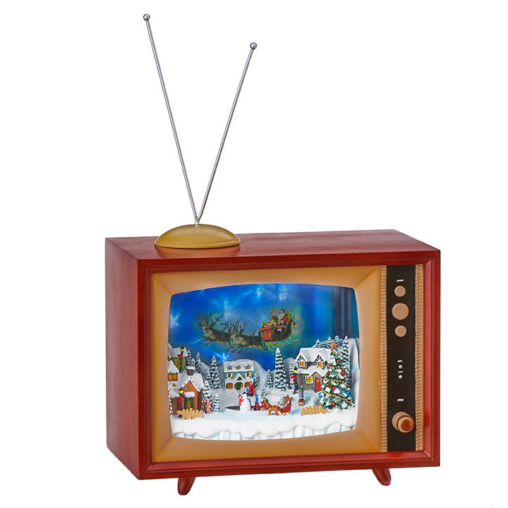 Animated Lighted Musical Santa's Flight TV, 10""