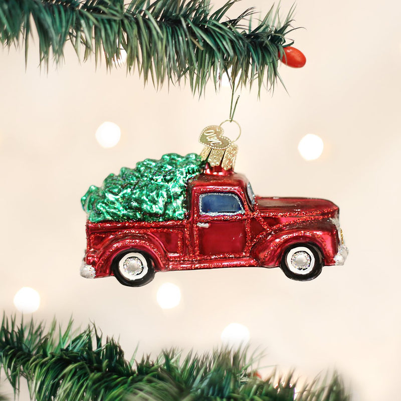 Old World Glass Red Truck with Tree ornament, 4""