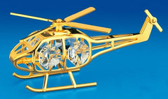 Helicopter Orn. 24K Gold Plated W/Swarovski Crystal