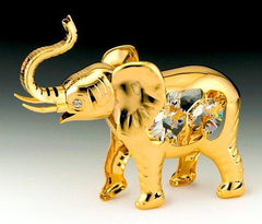 Elephant Orn. 24K Gold Plated W/Swarovski Crystal