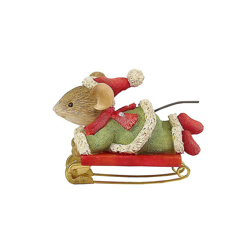 Safety First Sledding Mouse Figurine, 1.57""