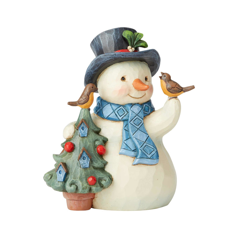 Jim Shore Pint Snowman With Tree/Birds, 5""