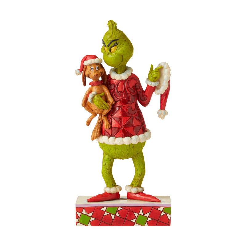 "Jim Shore Grinch Holding Max Figurine, 7.5"" H"