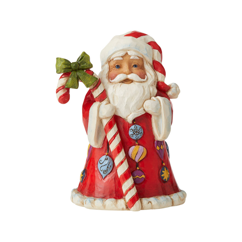 Jim Shore Mini Santa With Candy Cane, 3.43""