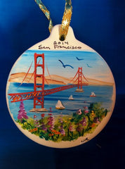 Hand Painted Ceramic Golden Gate Bridge Ornament