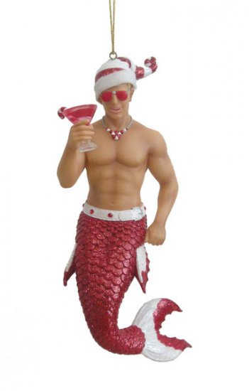 December Diamonds Candy Cane Merman Ornament