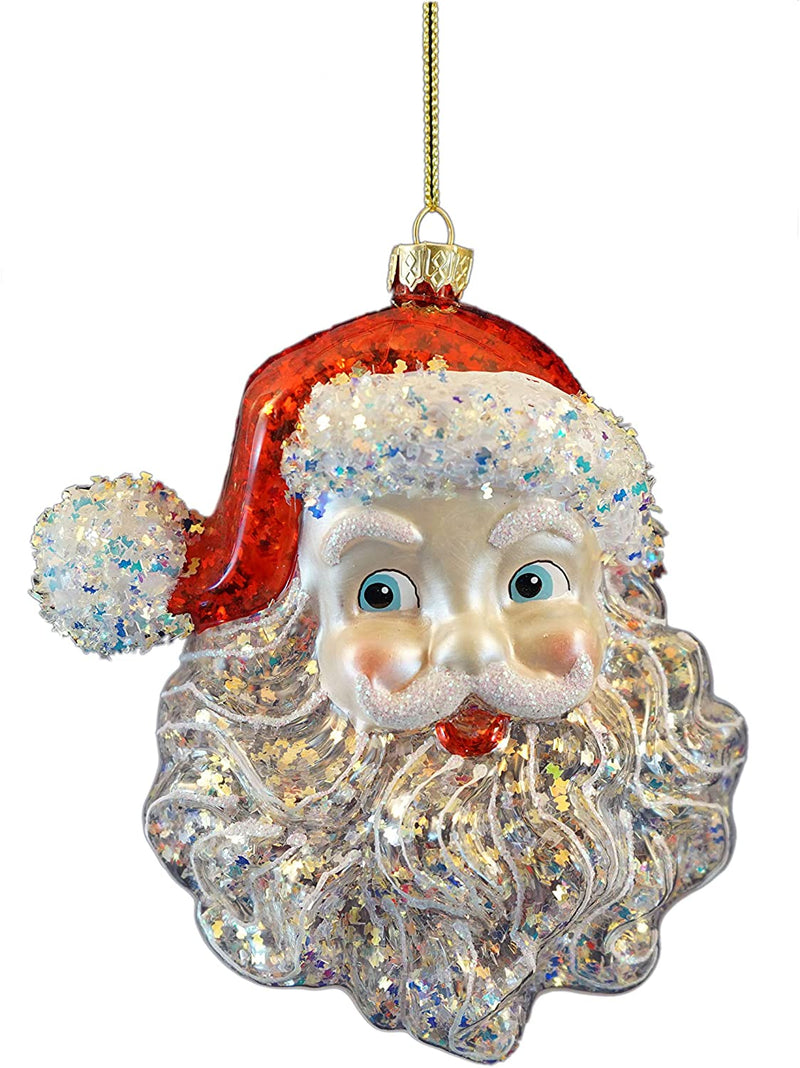 KSA Glass Santa Head Ornament, 5""
