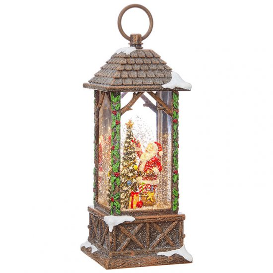 Santa Decorating Tree Lighted Water Lantern 10.75""