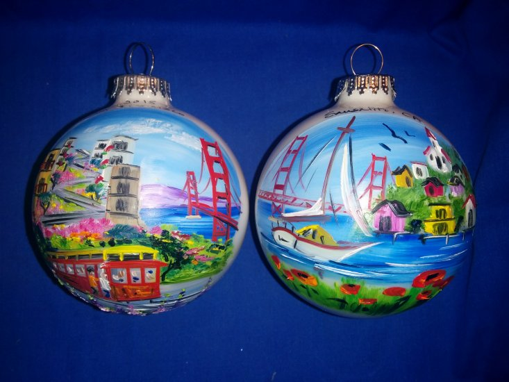 Hand Painted Two Sided Sausalito & San Francisco Golden Gate Glass Ball (1)Ornament