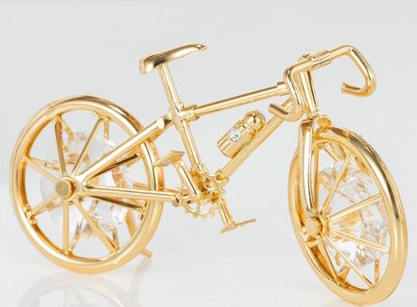 24K Gold Plated W/ Swarovski Crystal Bicycle Ornament