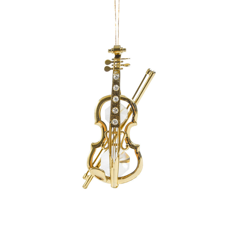 Violin Orn. 24K Gold Plated W/Swarovski Crystal