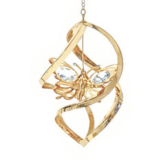 Butterfly Orn. 24K Gold Plated W/Swarovski Crystal