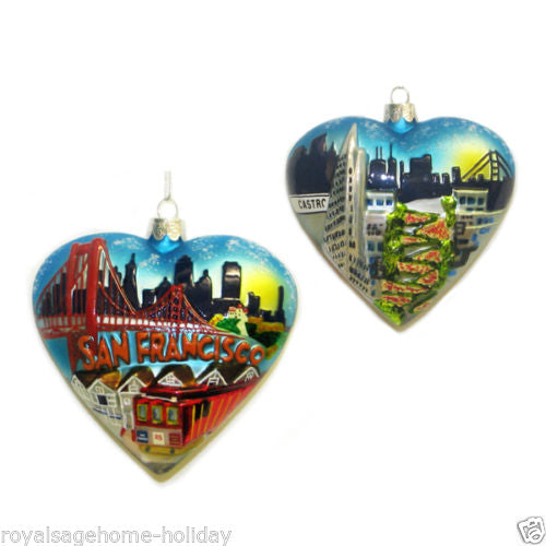 San Francisco Heart City Scape Ornament 4""