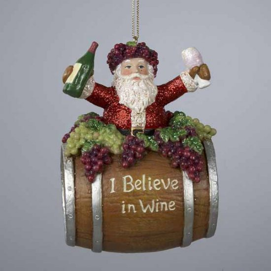 "4"" Resin Santa on Wine Barrel Ornament"