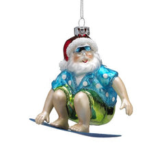 Beach Santa on Surfboard Ornament