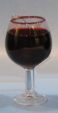 "2.5"" Red Wine Glass Ornament"