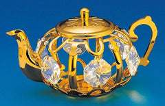 Tea Pot Orn. 24K Gold Plated W/Swarovski Crystal