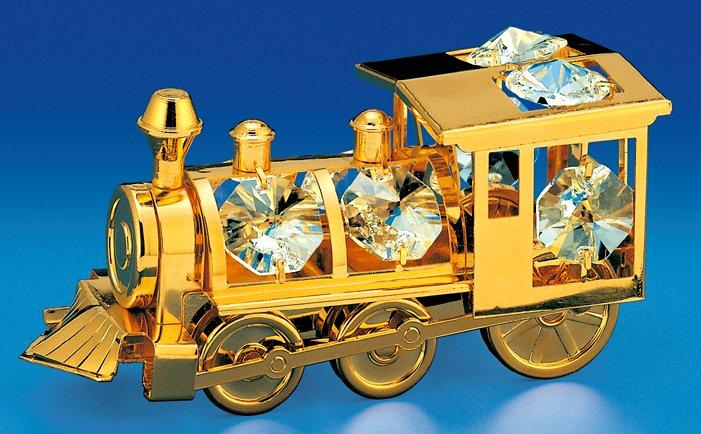 Locomotive Orn. 24K Gold Plated W/Swarovski Crystal