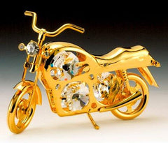 Motorcycle Orn. 24K Gold Plated W/Swarovski Crystal