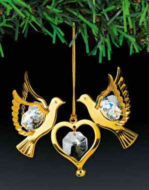 Double Dove Orn. 24K Gold Plated W/Swarovski Crystal