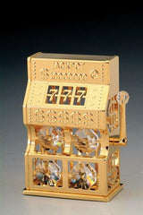 Slot Machine Orn. 24K Gold Plated W/Swarovski Crystal