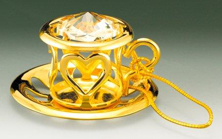Tea Cup Orn. 24K Gold Plated W/ Swarovski Crystal