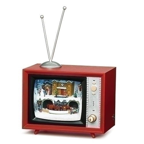 Musical LED TV with Train Going Around Figurine
