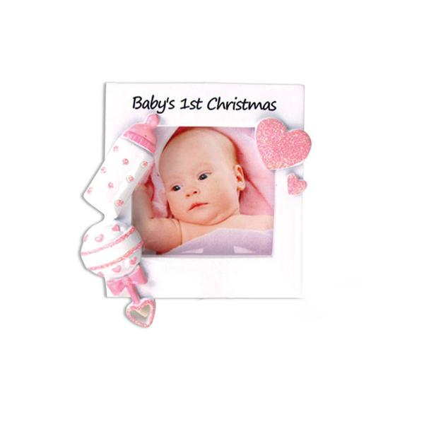 Baby's First Christmas Picture Frame ornament- Pink