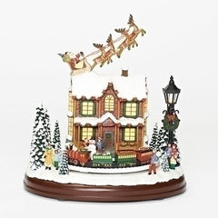 Musical LED Lighted Santa W/Reindeers over the House, 9