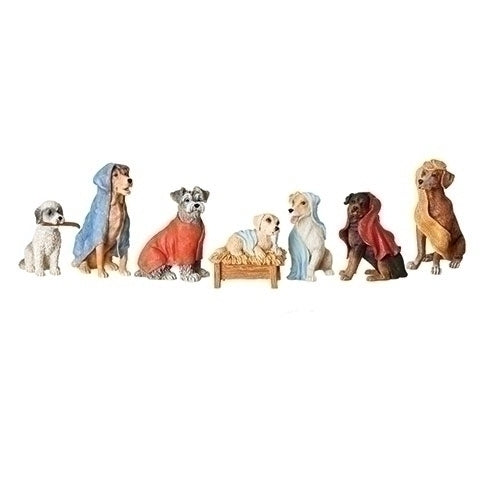 Dog Nativity W/Blanket Robes 7 Pc Set 3.5""