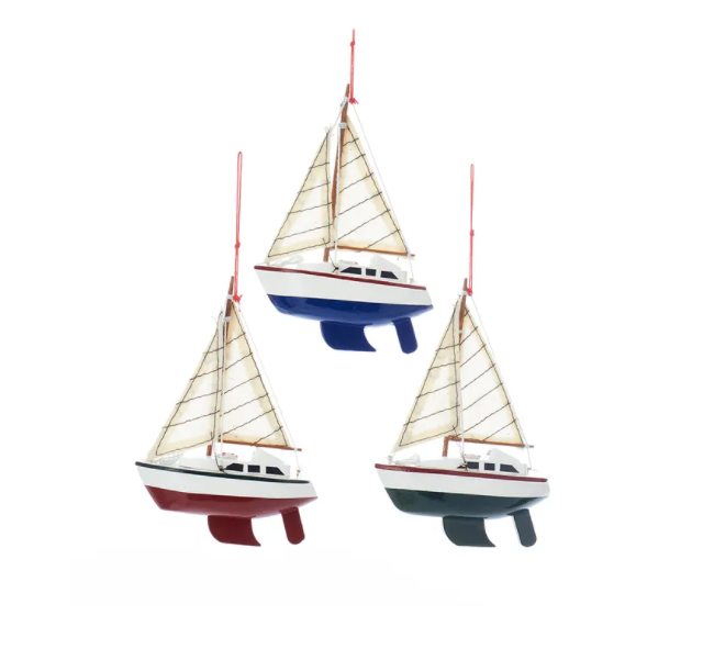 Wooden Yachts With Sails Ornament