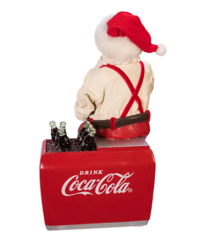 KSA Coca-Cola Santa On Cooler Table Piece, 10.5""